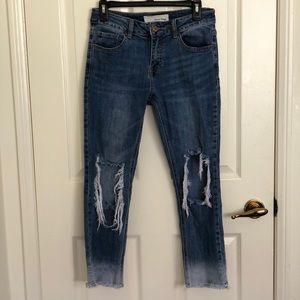 Nasty Gal Distressed Faded Jeans